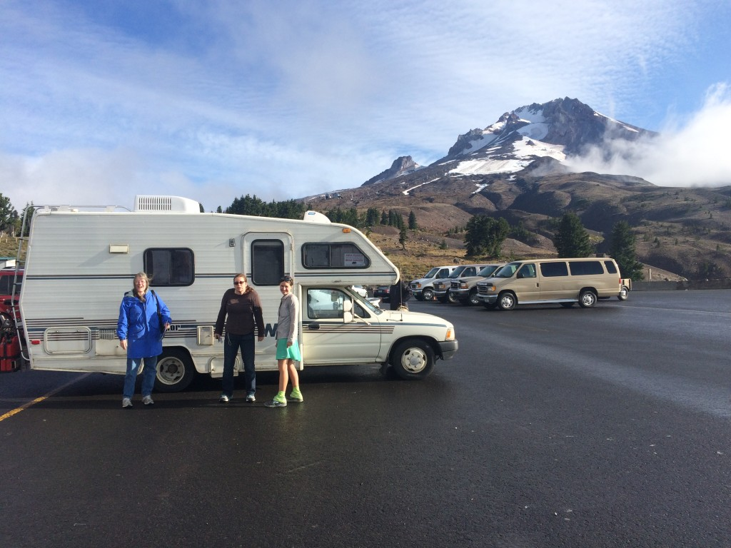 Terry, Annette and I in front of the Winnebago Warrior and Mt. Hood.