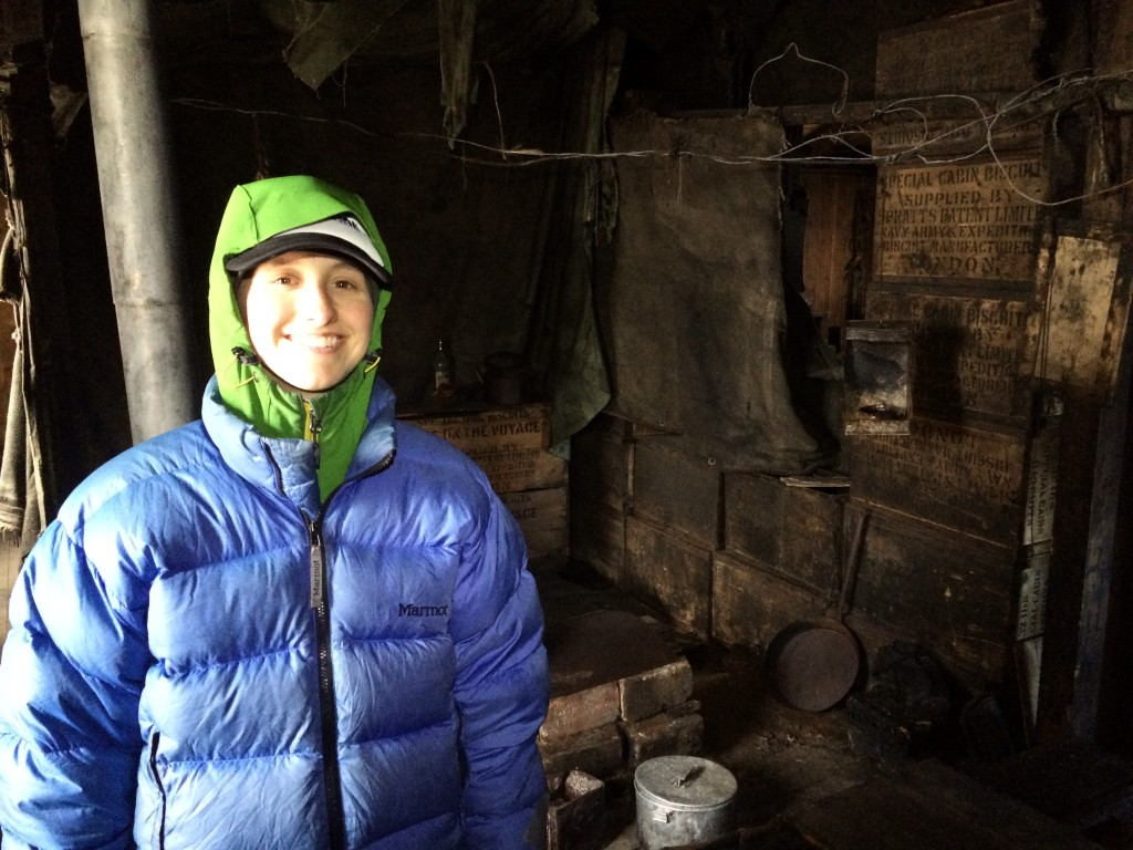 Me in Discovery Hut by the one window that let in light.