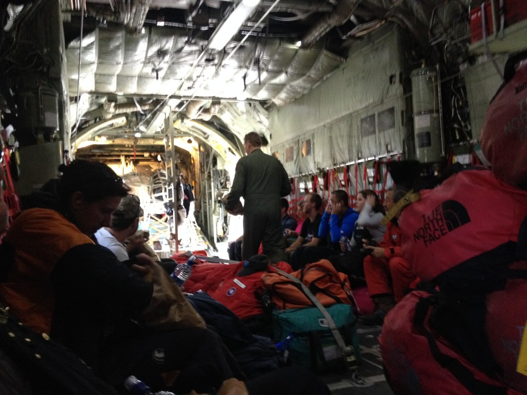 Looking toward the back of the C-130 from Christchurch to McMurdo.
