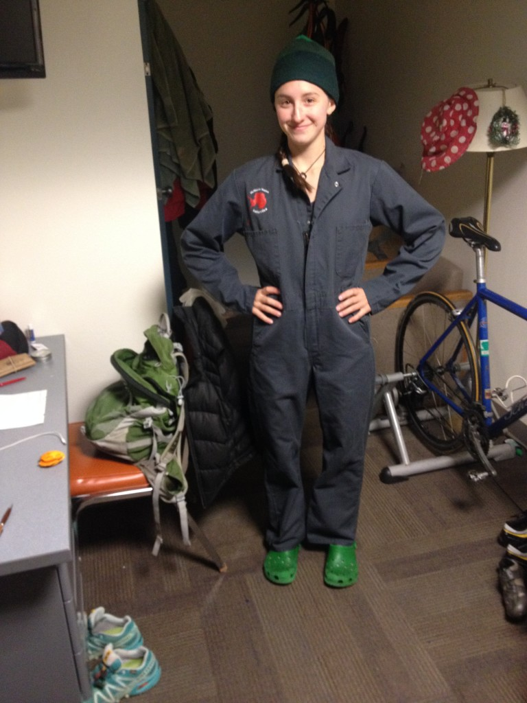 Here are the coveralls we wear for jano day.