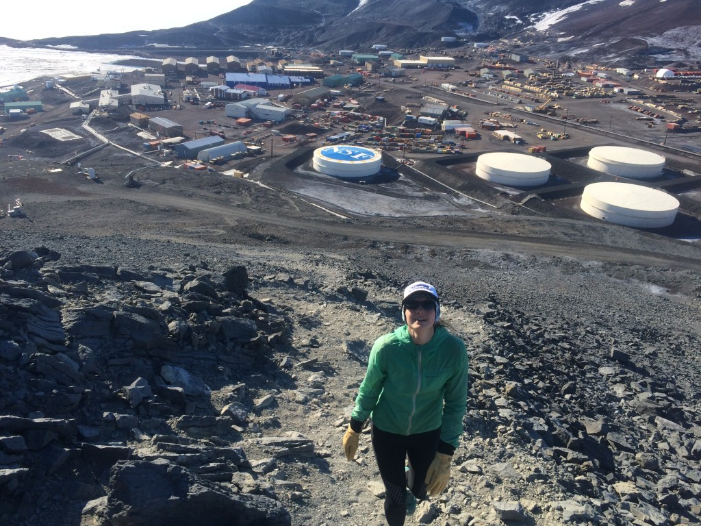 Climbing Ob Hill with McMurdo in the background.