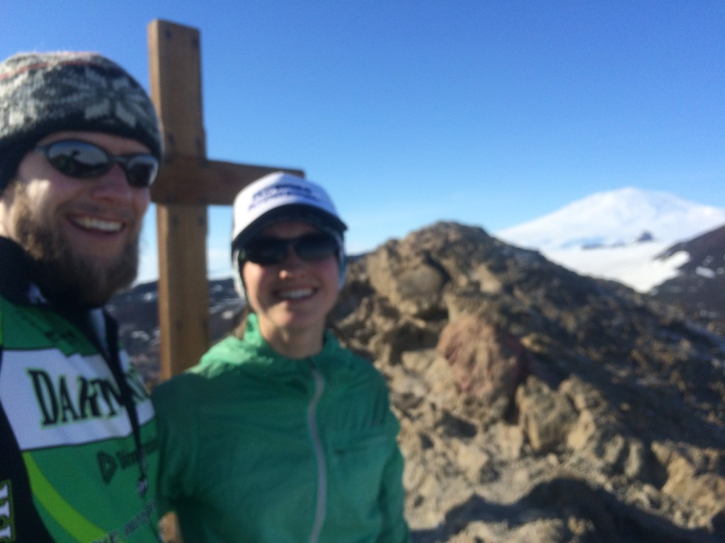 Sorry it's blurry. That's the top of Ob Hill. Mt. Erebus is ice-covered behind us. The cross is in memory of Scott, who died on his way back from finally making it to the South Pole. The cross will be 101 years old in January.