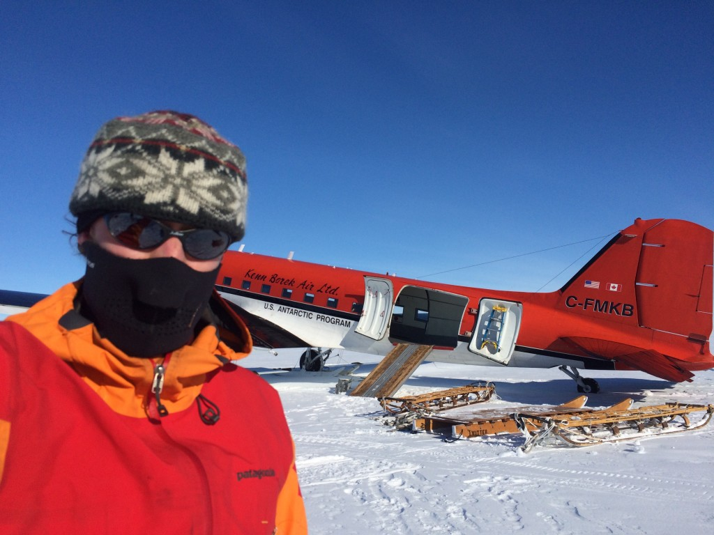 Richard and the plane in the middle of the Ross Ice Shelf.