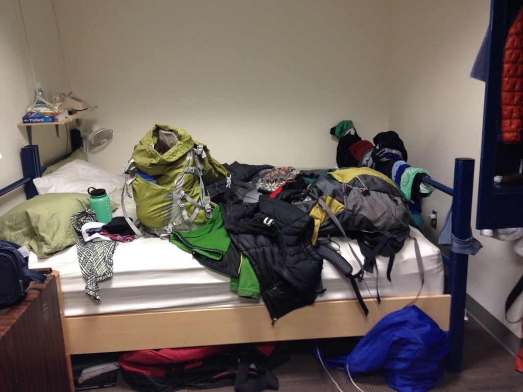 And the opposite view. The bed is covered with gear as we were about to go on a hike...promise.