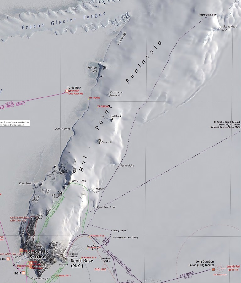 Here's a map of the Hut Point Peninsula. At the bottom of the map is McMurdo. At the upper right corner is Room with a View. The green circle toward the bottom is the Castle Rock Loop Trail.