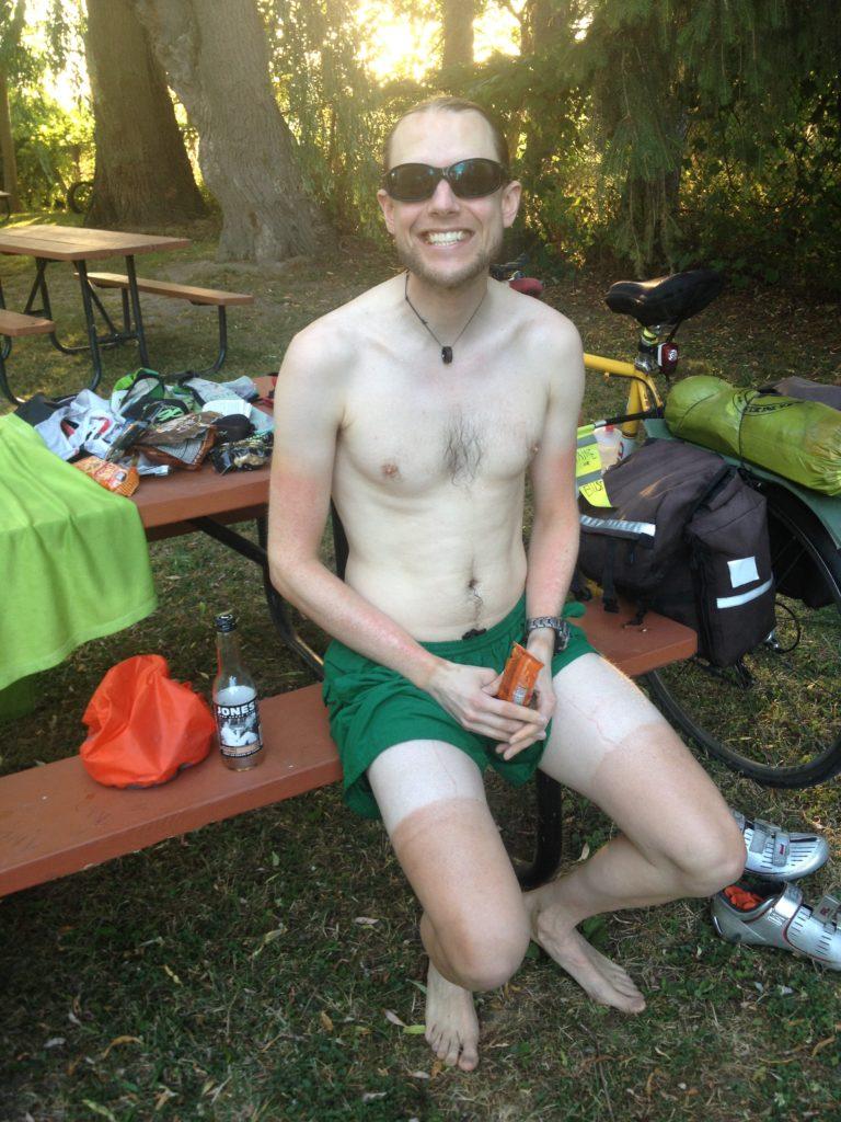 Richard's bike tan thus far.
