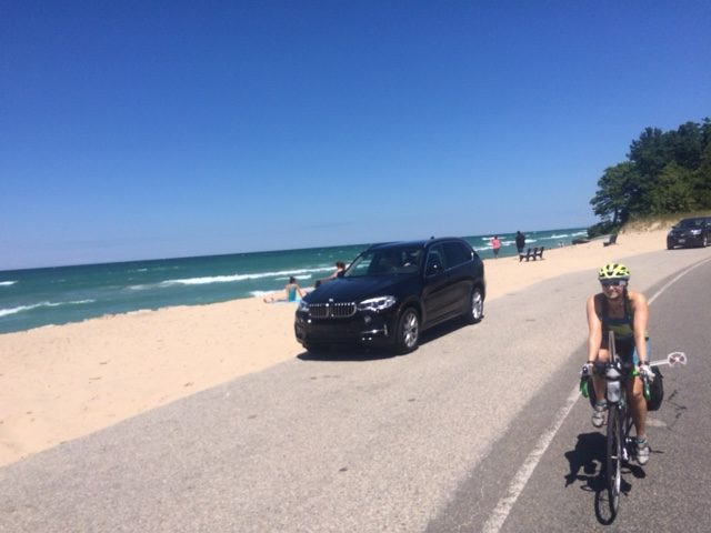 Riding next to Lake Michigan.