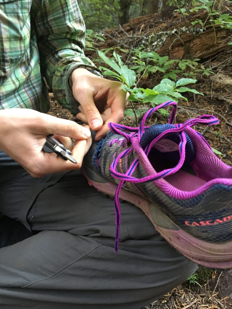 Richard plays shoe doctor.