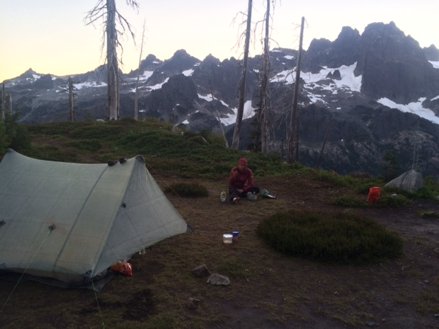 Our camp with a view of hanging glaciers.